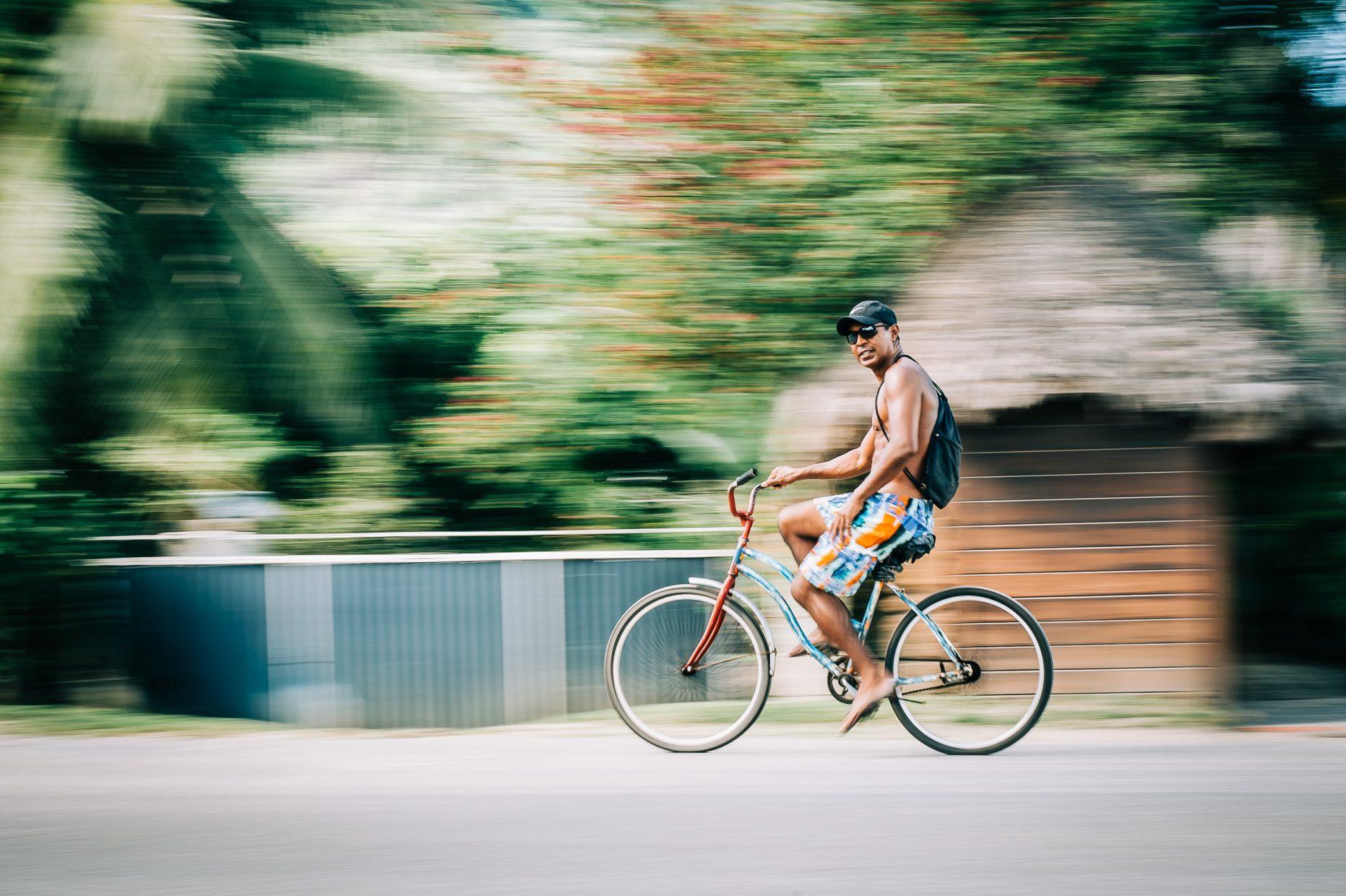 Bora Bora, people biking